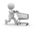 ludzik z wózkiem na zakupy